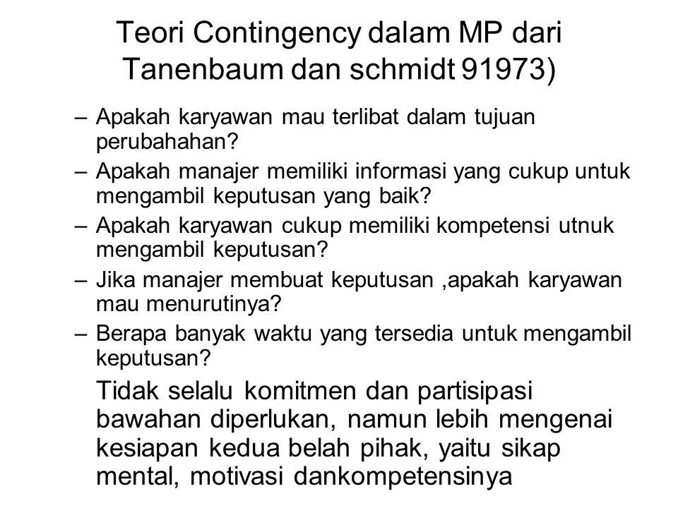 Teori Contingency dalam MP dari Tanenbaum dan schmidt 91973)