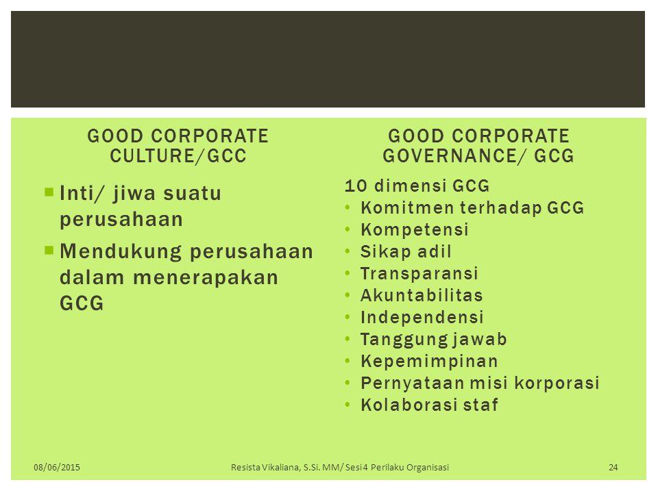 Inti/ jiwa suatu perusahaan Mendukung perusahaan dalam menerapakan GCG