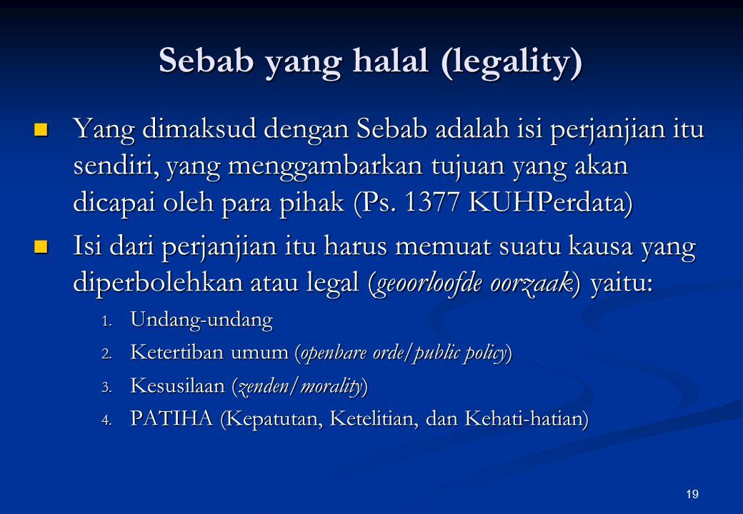 Sebab yang halal (legality)