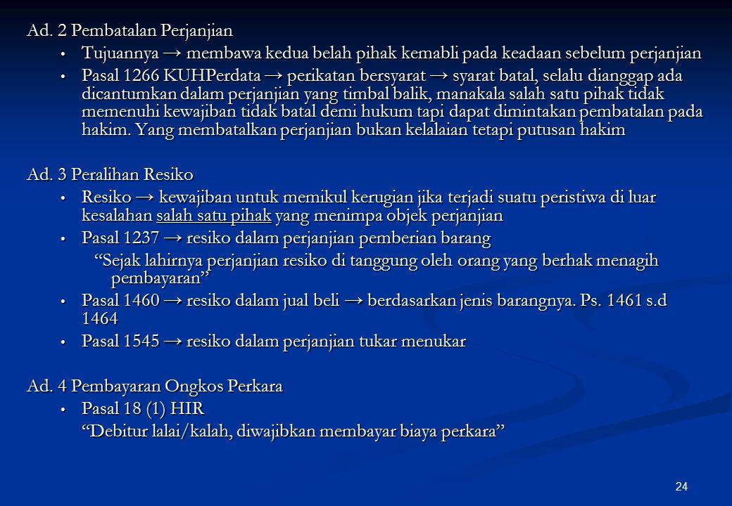 Ad. 2 Pembatalan Perjanjian