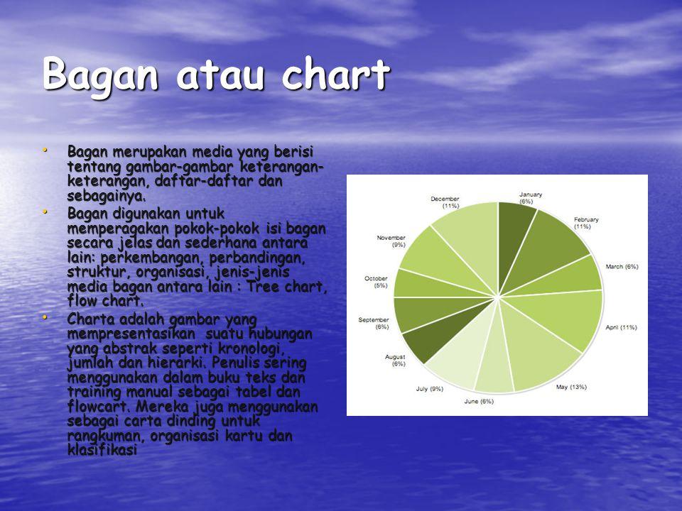 Bagan atau chart Bagan merupakan media yang berisi tentang gambar-gambar keterangan-keterangan, daftar-daftar dan sebagainya.