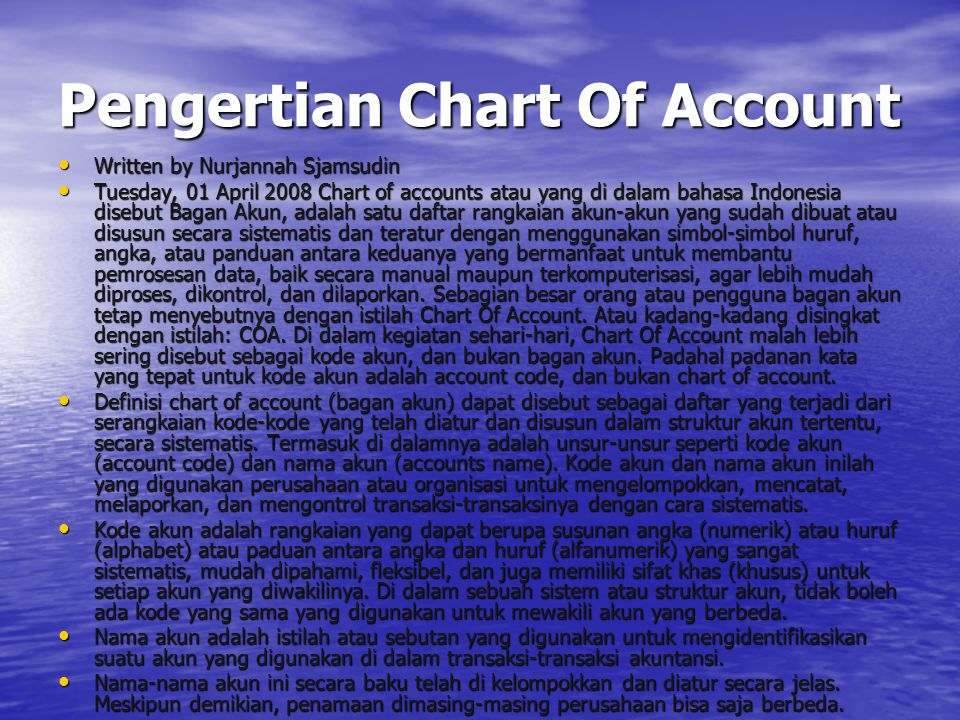 Pengertian Chart Of Account