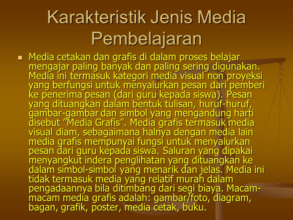 Karakteristik Jenis Media Pembelajaran