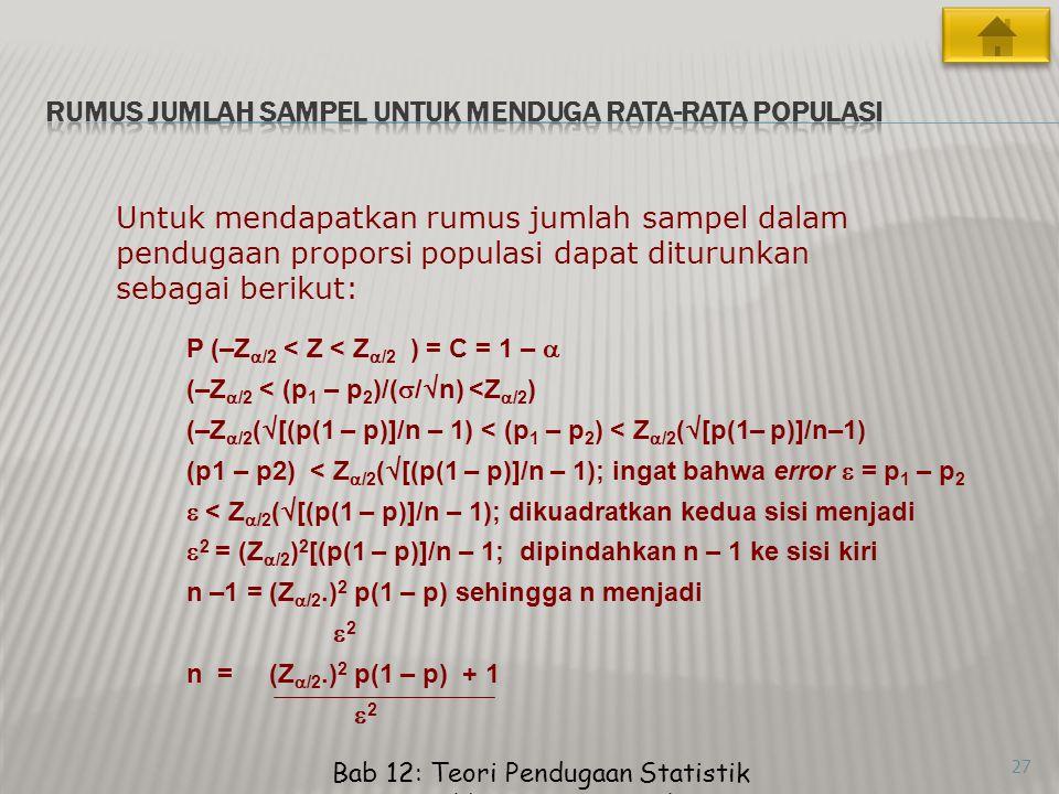 Bab 12: Teori Pendugaan Statistik Memilih Ukuran Sampel