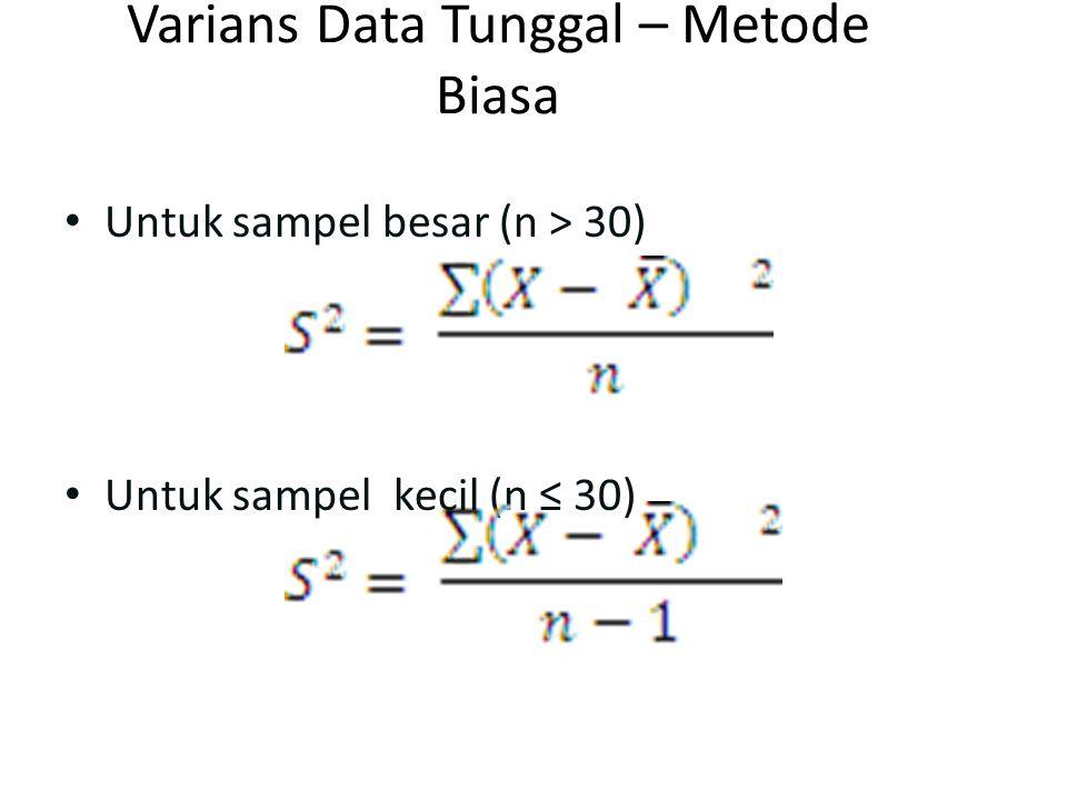 Varians Data Tunggal – Metode Biasa