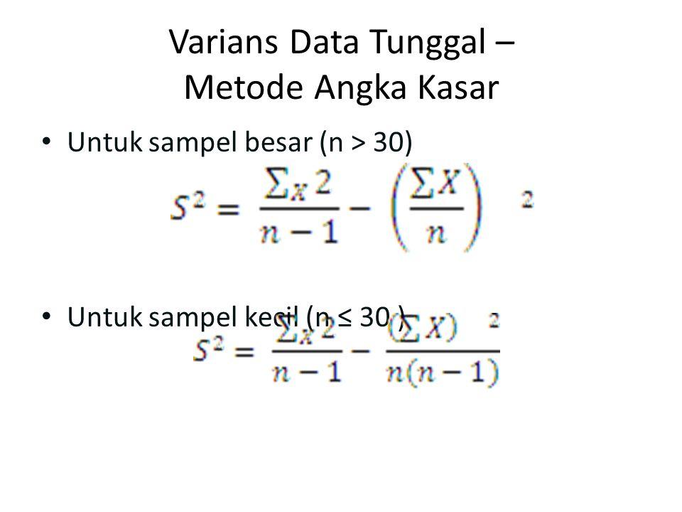 Varians Data Tunggal – Metode Angka Kasar