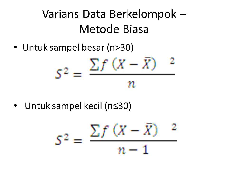 Varians Data Berkelompok – Metode Biasa