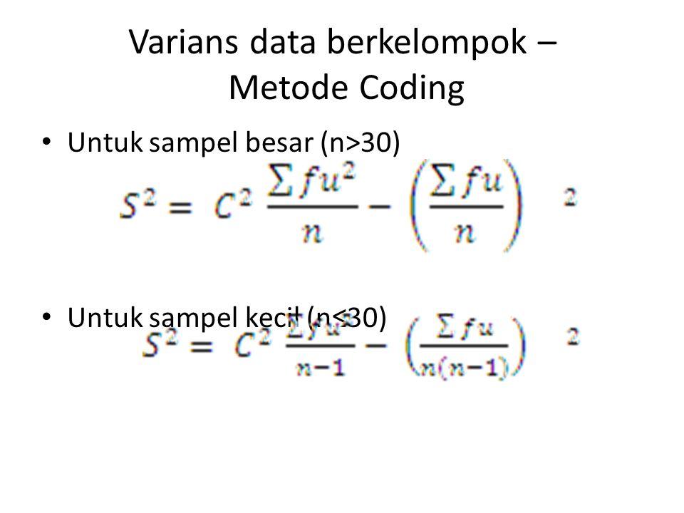 Varians data berkelompok – Metode Coding