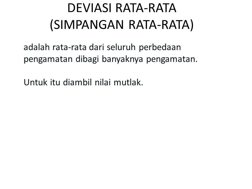 DEVIASI RATA-RATA (SIMPANGAN RATA-RATA)