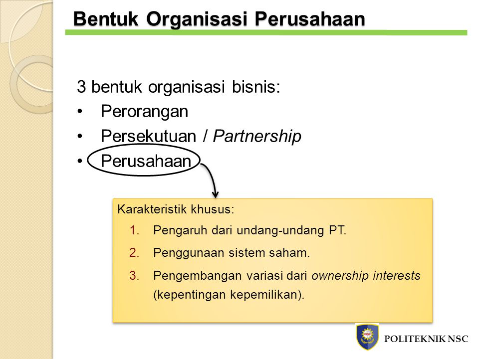 Bentuk Organisasi Perusahaan