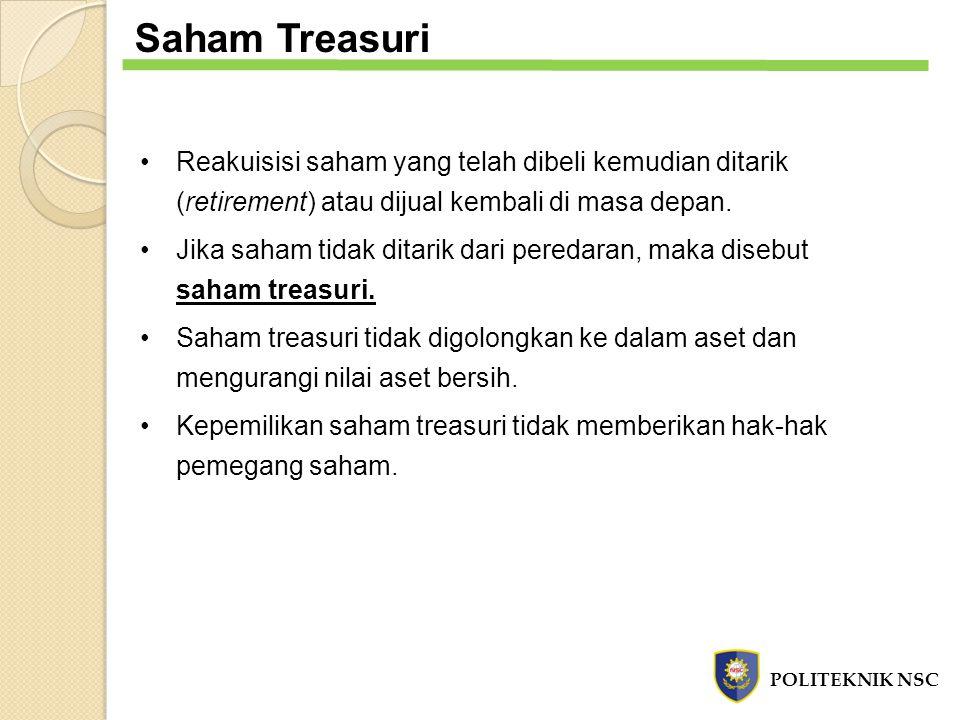 Saham Treasuri Reakuisisi saham yang telah dibeli kemudian ditarik (retirement) atau dijual kembali di masa depan.