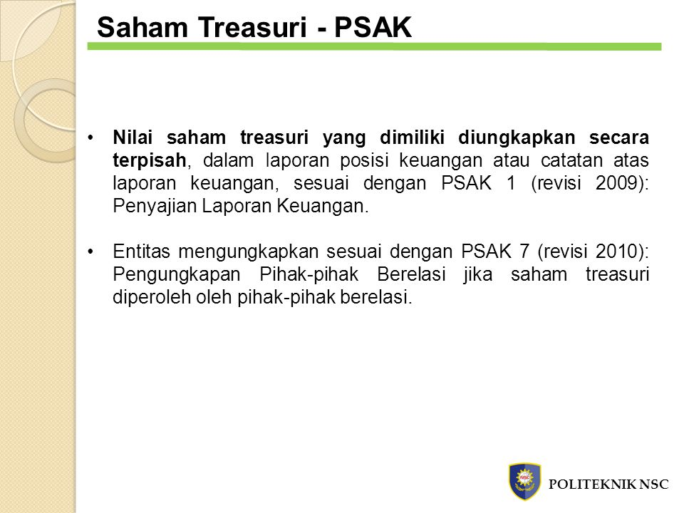 Saham Treasuri - PSAK