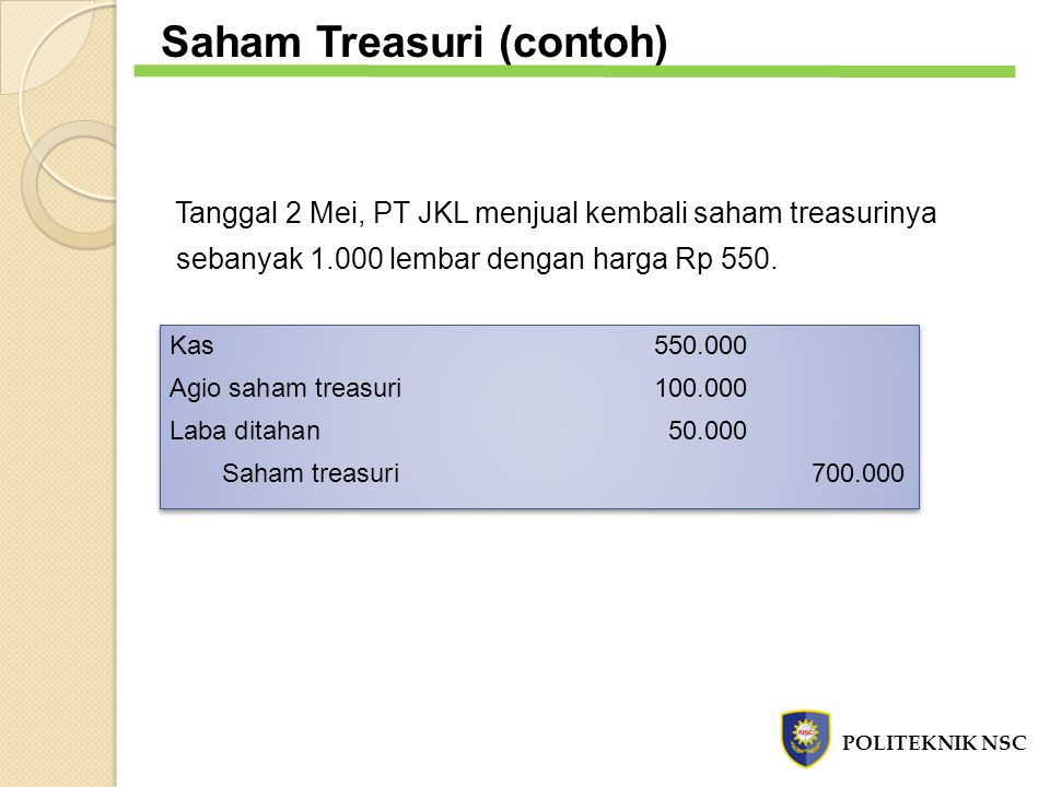 Saham Treasuri (contoh)