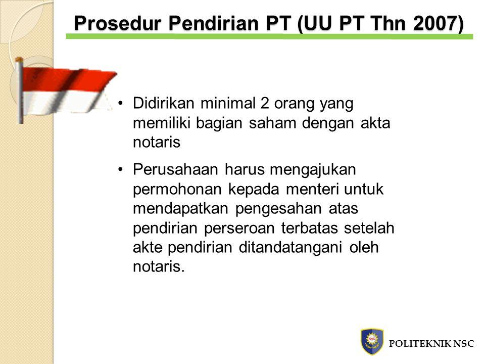 Prosedur Pendirian PT (UU PT Thn 2007)