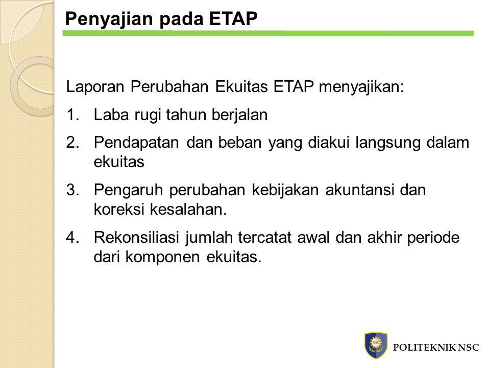 Penyajian pada ETAP Laporan Perubahan Ekuitas ETAP menyajikan: