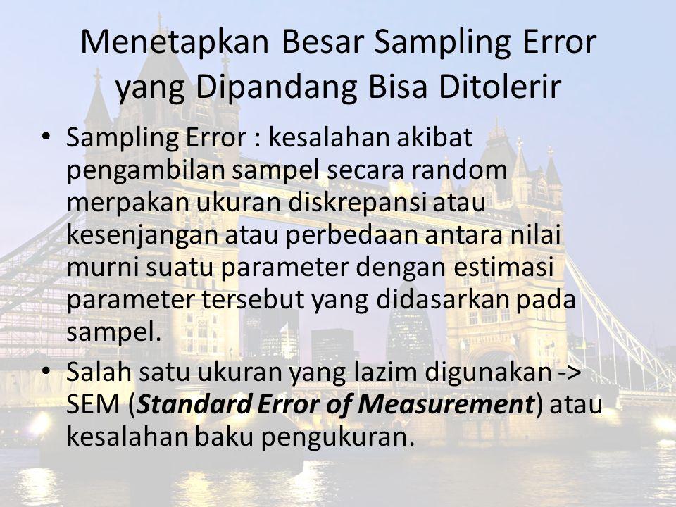 Menetapkan Besar Sampling Error yang Dipandang Bisa Ditolerir