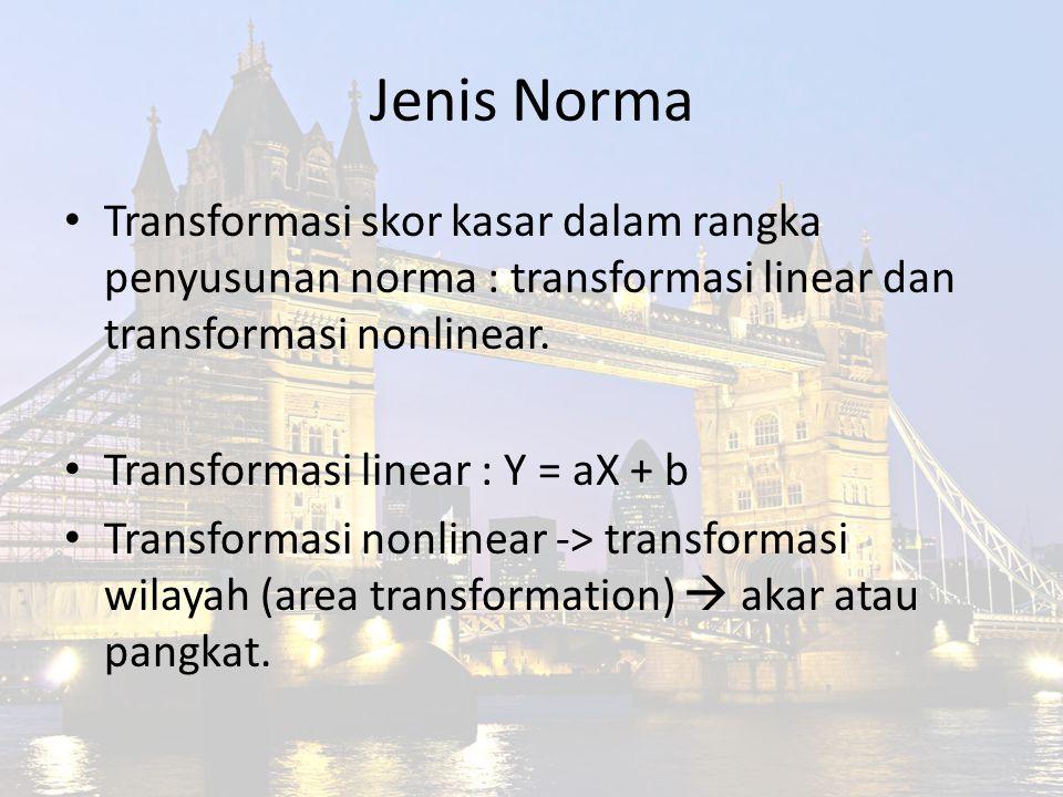 Jenis Norma Transformasi skor kasar dalam rangka penyusunan norma : transformasi linear dan transformasi nonlinear.
