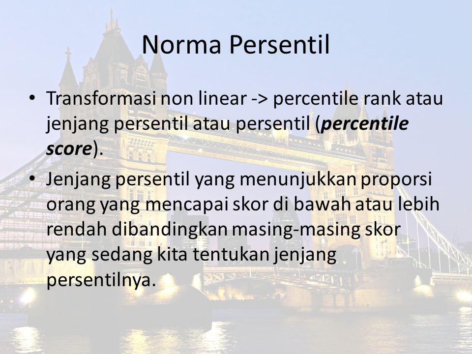 Norma Persentil Transformasi non linear -> percentile rank atau jenjang persentil atau persentil (percentile score).