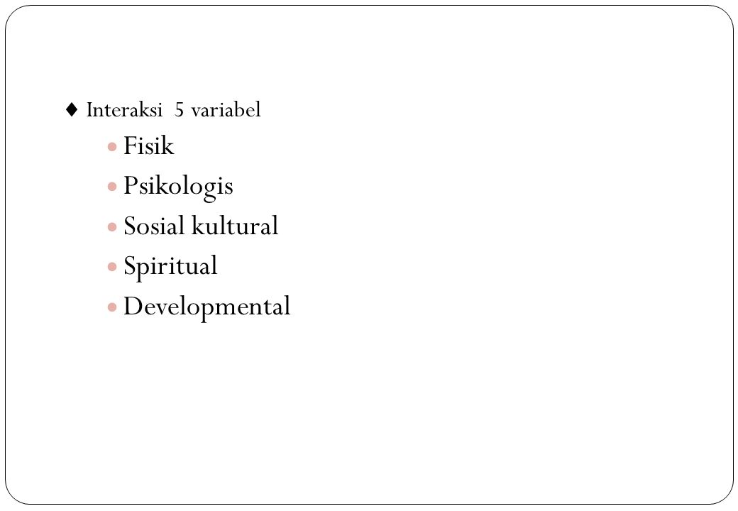 Fisik Psikologis Sosial kultural Spiritual Developmental