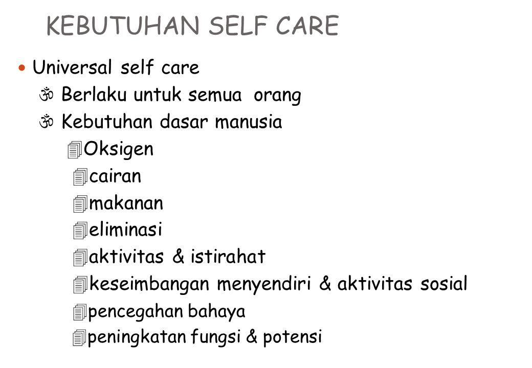 KEBUTUHAN SELF CARE Universal self care  Berlaku untuk semua orang