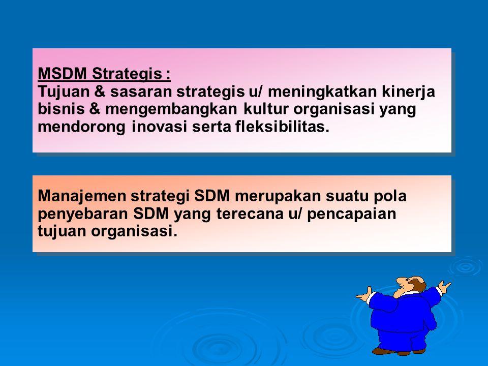 MSDM Strategis : Tujuan & sasaran strategis u/ meningkatkan kinerja. bisnis & mengembangkan kultur organisasi yang.