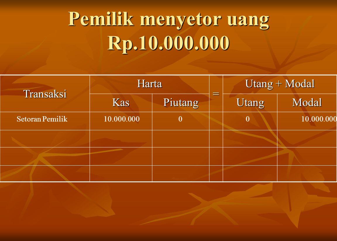 Pemilik menyetor uang Rp.10.000.000