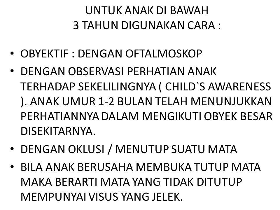 UNTUK ANAK DI BAWAH 3 TAHUN DIGUNAKAN CARA :