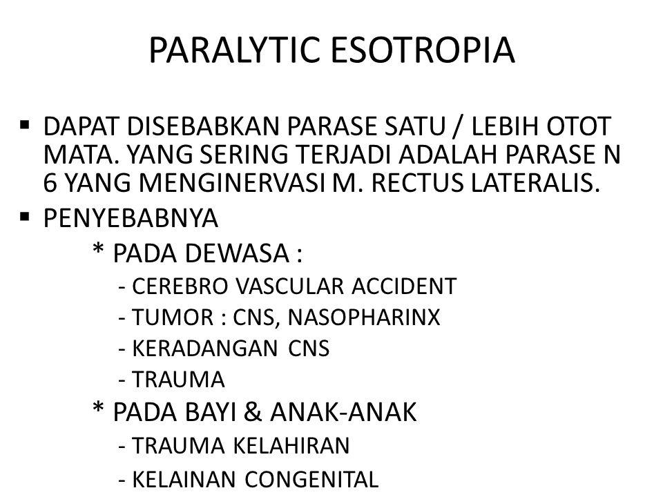 PARALYTIC ESOTROPIA DAPAT DISEBABKAN PARASE SATU / LEBIH OTOT MATA. YANG SERING TERJADI ADALAH PARASE N 6 YANG MENGINERVASI M. RECTUS LATERALIS.