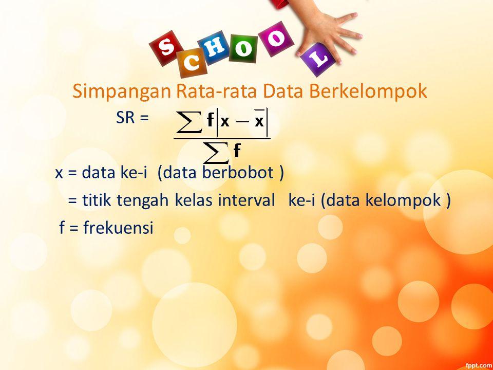 Simpangan Rata-rata Data Berkelompok
