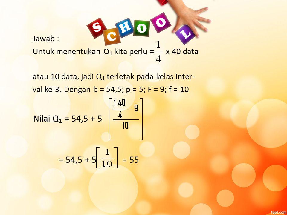 Jawab : Untuk menentukan Q1 kita perlu = x 40 data. atau 10 data, jadi Q1 terletak pada kelas inter-