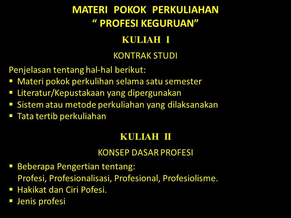 MATERI POKOK PERKULIAHAN