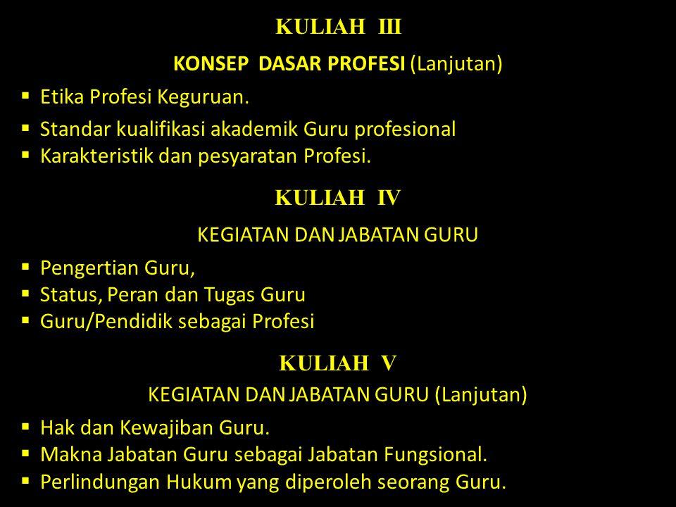 KULIAH III KULIAH IV KULIAH V
