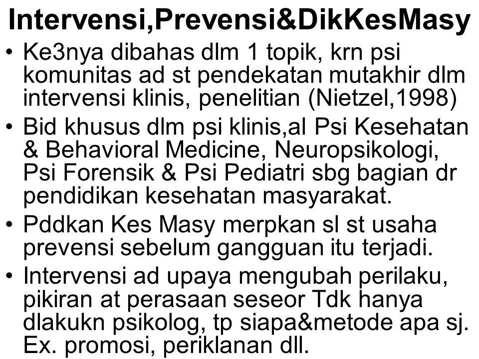 Intervensi,Prevensi&DikKesMasy