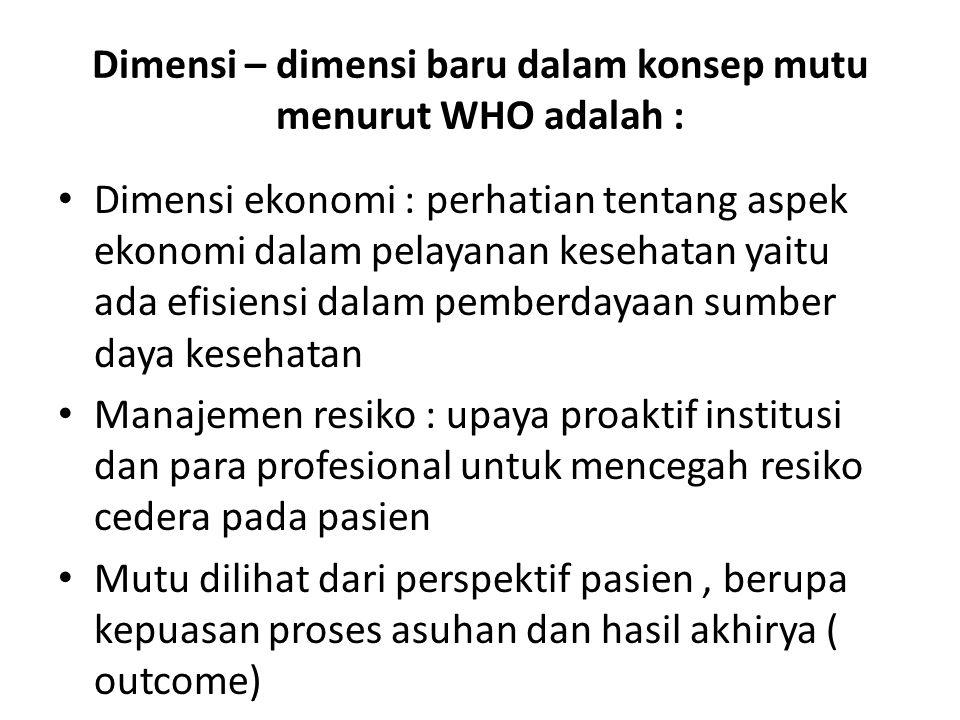 Dimensi – dimensi baru dalam konsep mutu menurut WHO adalah :