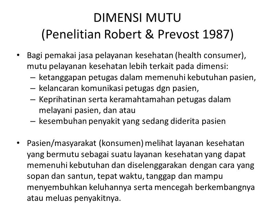 DIMENSI MUTU (Penelitian Robert & Prevost 1987)