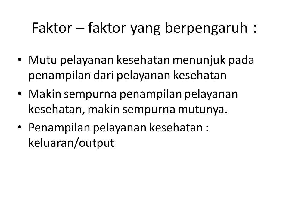 Faktor – faktor yang berpengaruh :