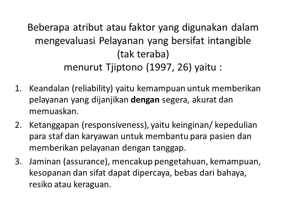 Beberapa atribut atau faktor yang digunakan dalam mengevaluasi Pelayanan yang bersifat intangible (tak teraba) menurut Tjiptono (1997, 26) yaitu :