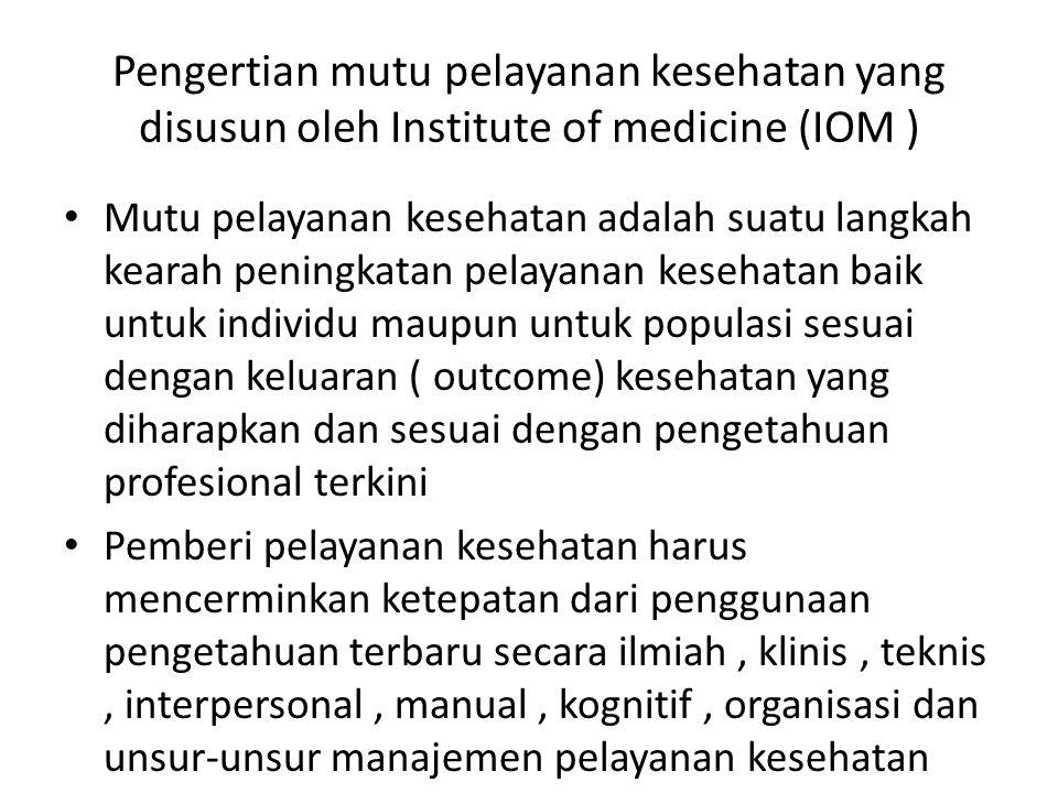 Pengertian mutu pelayanan kesehatan yang disusun oleh Institute of medicine (IOM )