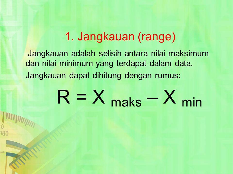 1. Jangkauan (range) Jangkauan dapat dihitung dengan rumus: