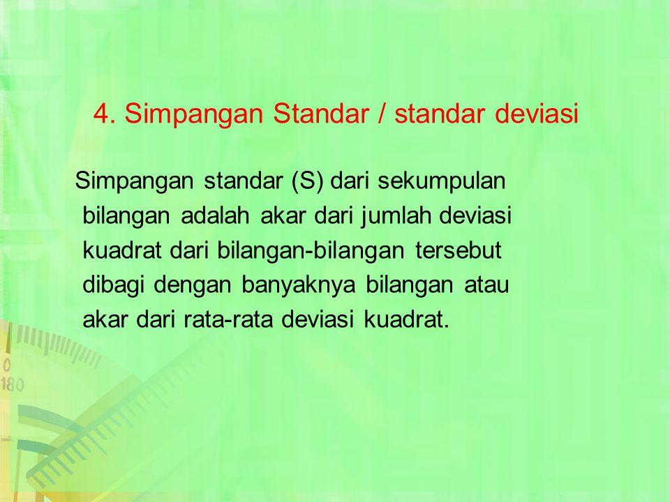 4. Simpangan Standar / standar deviasi