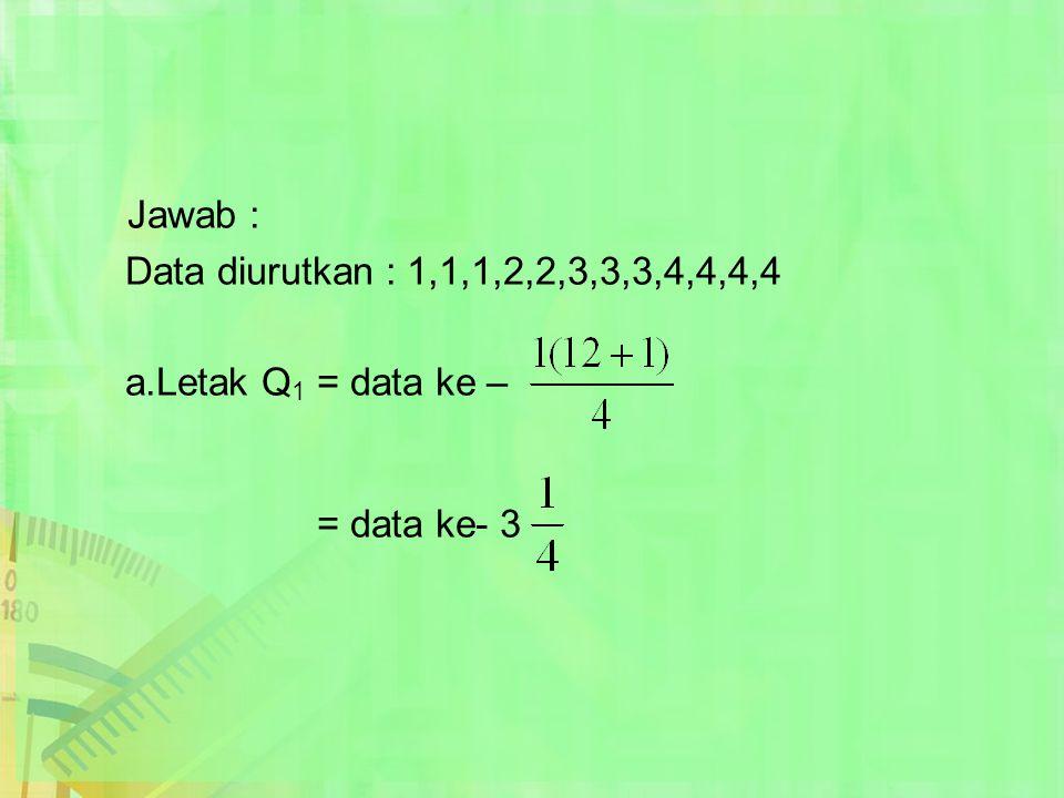 Jawab : Data diurutkan : 1,1,1,2,2,3,3,3,4,4,4,4