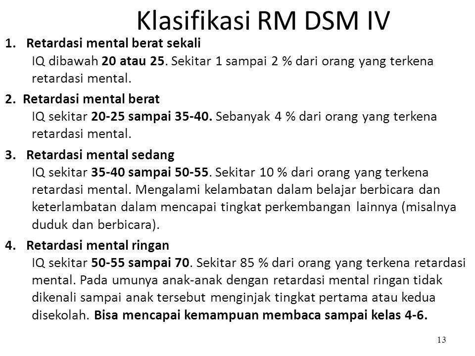 Klasifikasi RM DSM IV 1. Retardasi mental berat sekali IQ dibawah 20 atau 25. Sekitar 1 sampai 2 % dari orang yang terkena retardasi mental.