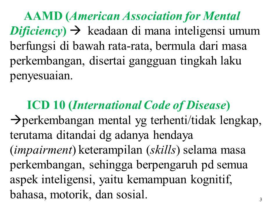 AAMD (American Association for Mental Dificiency)  keadaan di mana inteligensi umum berfungsi di bawah rata-rata, bermula dari masa perkembangan, disertai gangguan tingkah laku penyesuaian.