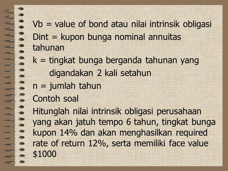 Vb = value of bond atau nilai intrinsik obligasi