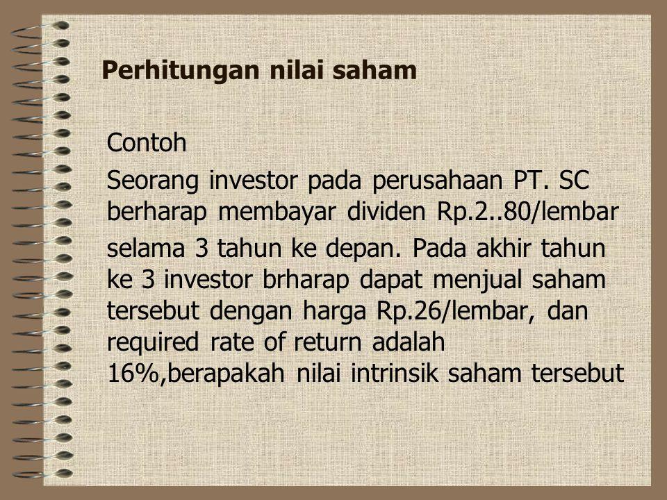 Perhitungan nilai saham
