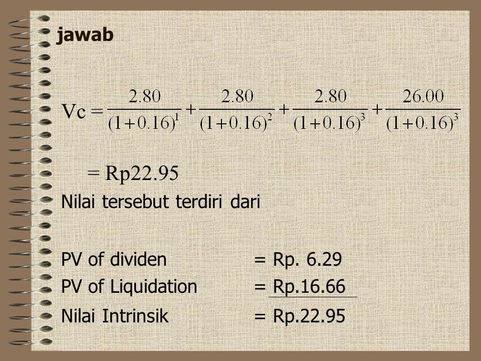 Vc = = Rp22.95 jawab Nilai tersebut terdiri dari