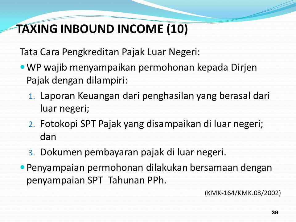 TAXING INBOUND INCOME (10)