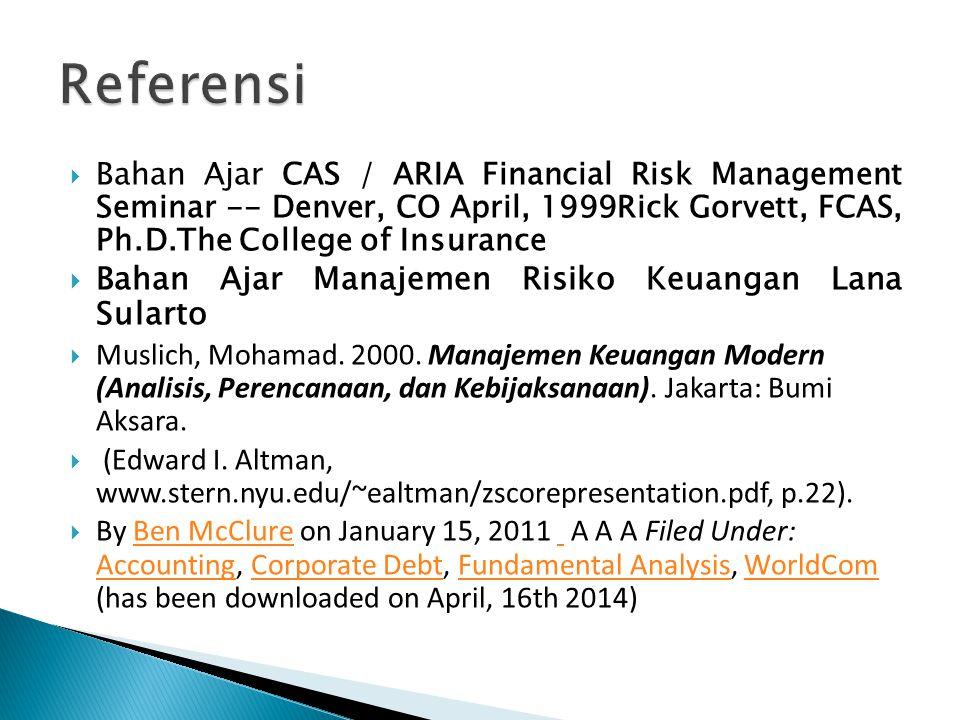 Referensi Bahan Ajar Manajemen Risiko Keuangan Lana Sularto