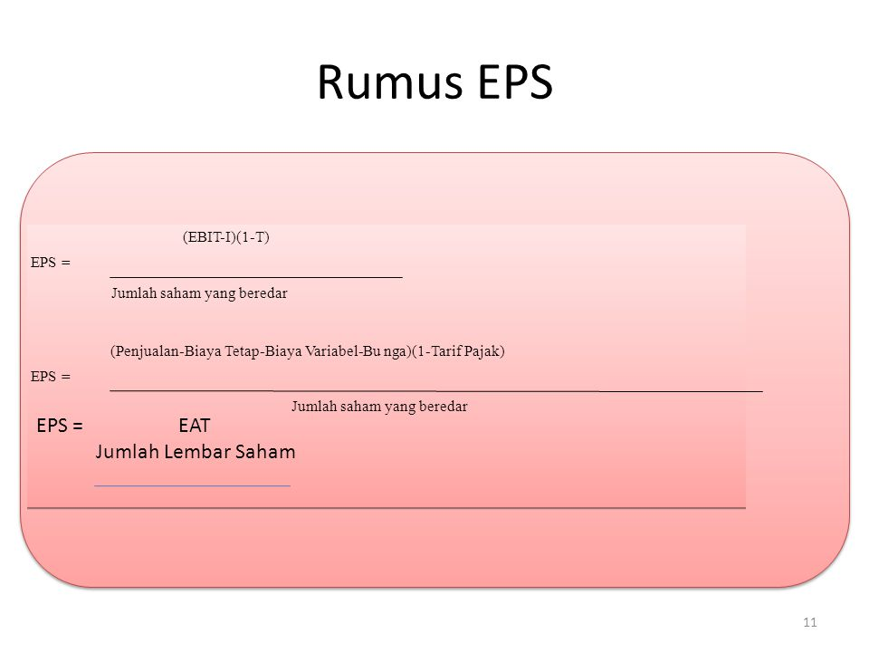Rumus EPS EPS = EAT Jumlah Lembar Saham (EBIT-I)(1-T) EPS =
