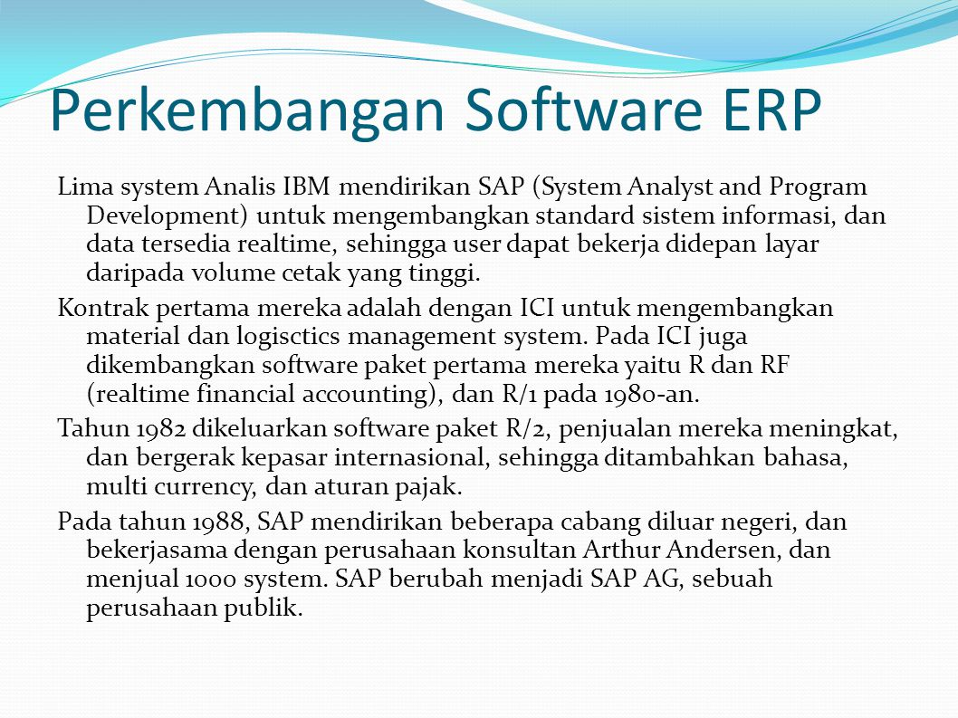 Perkembangan Software ERP